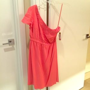 Gianni Bini one shoulder coral pink dress small